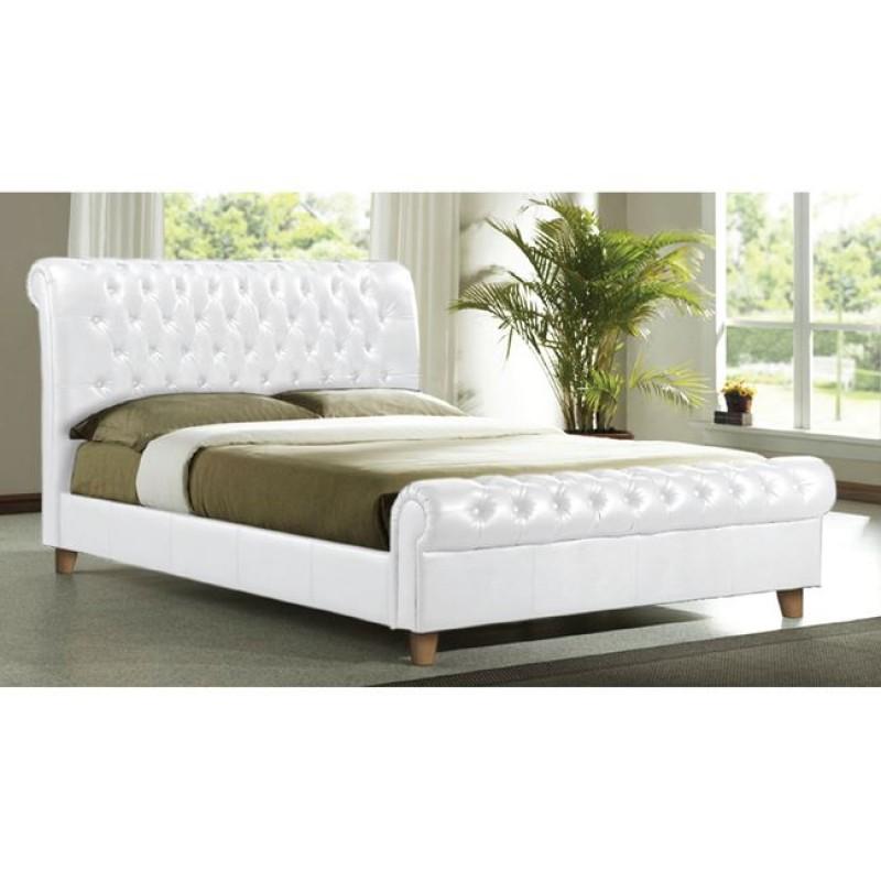"""Κρεβάτι """"HARMONY"""" διπλό από τεχνόδερμα σε λευκό χρώμα 169x240x104"""
