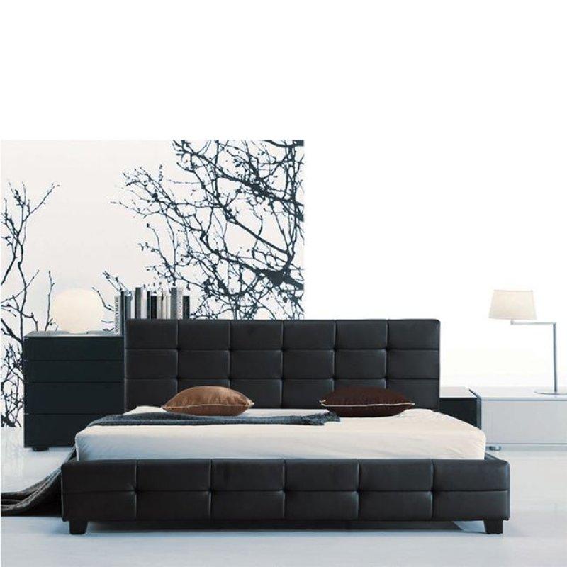"""Κρεβάτι """"FIDEL"""" διπλό από τεχνόδερμα σε μαύρο χρώμα 168x215x107"""