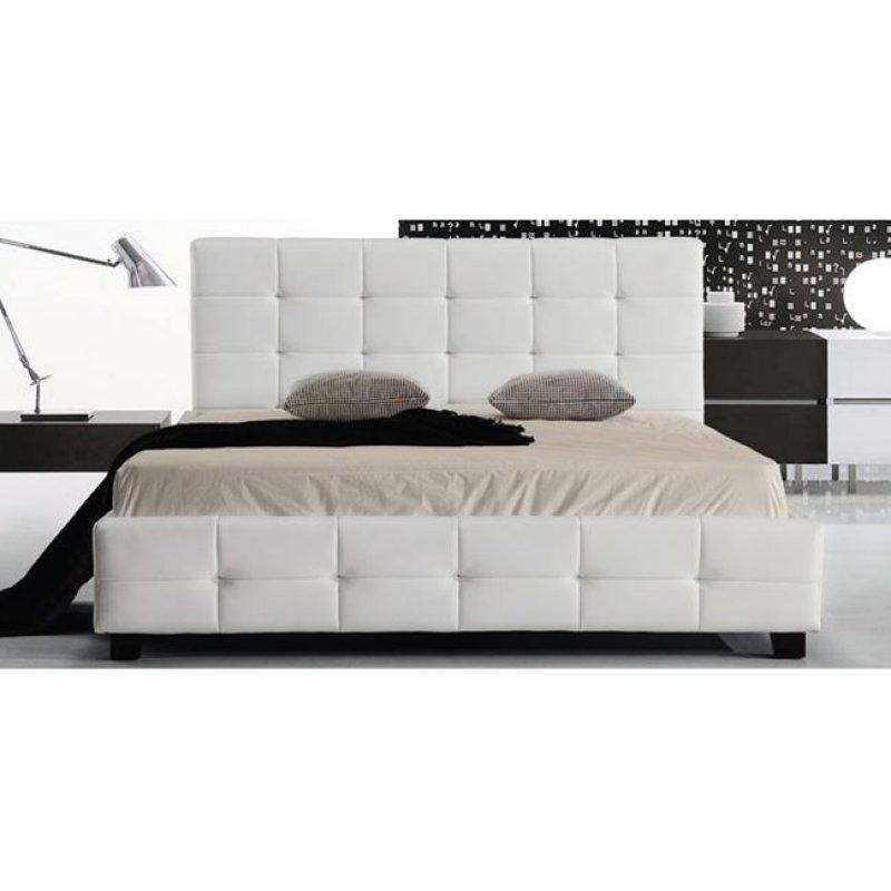 """Κρεβάτι """"FIDEL"""" διπλό απο τεχνόδερμα σε λευκό χρώμα 168x215x107"""