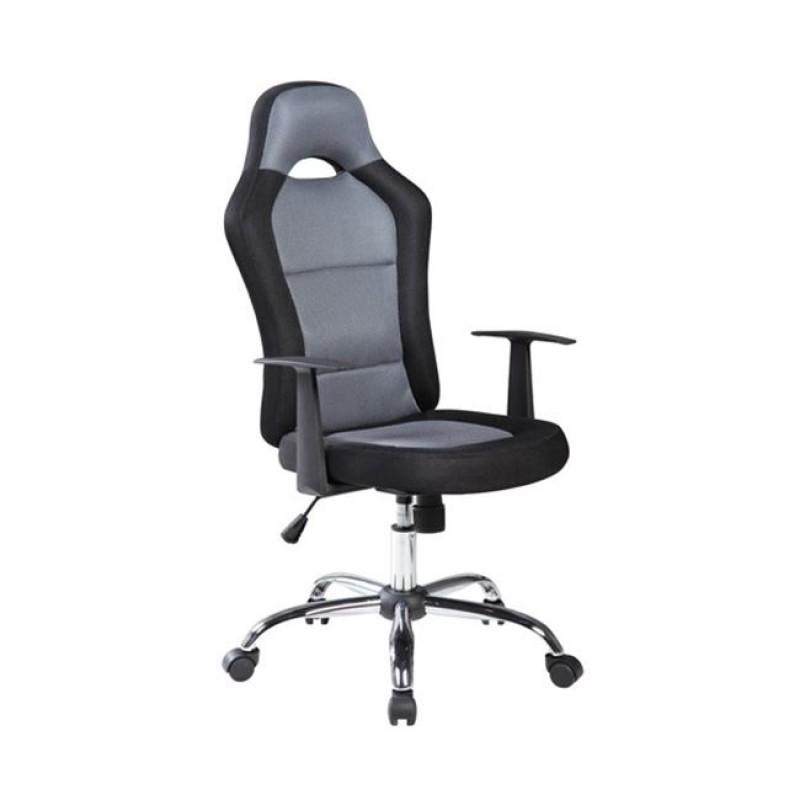 Πολυθρόνα διευθυντή από ύφασμα mesh σε γκρι-μαύρο χρώμα 61x63x108/118