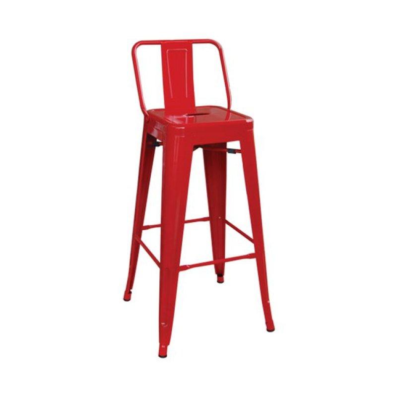 """Σκαμπώ μπαρ """"RELIX"""" με πλάτη μεταλλικό σε κόκκινο χρώμα 43x43x100"""