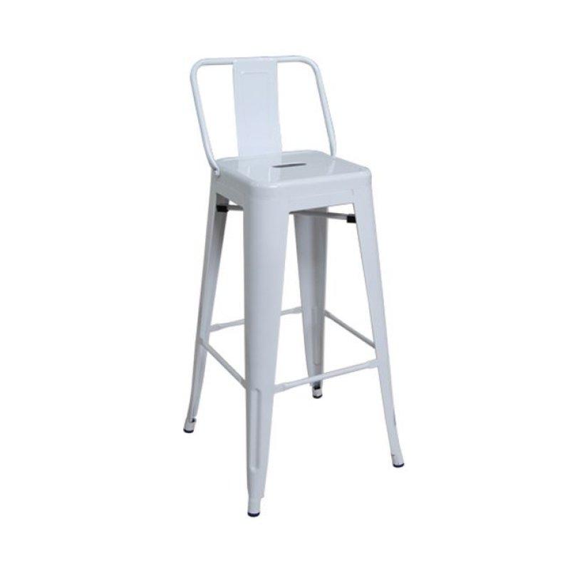 """Σκαμπώ μπαρ """"RELIX"""" με πλάτη μεταλλικό σε λευκό χρώμα 43x43x100"""