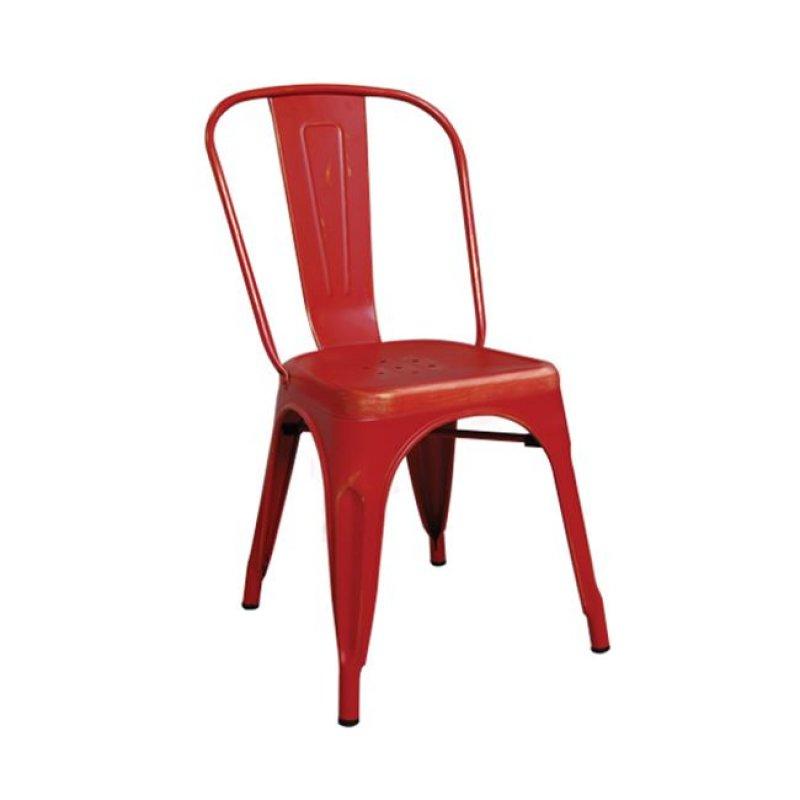 """Καρέκλα """"RELIX"""" μεταλλική σε χρώμα κόκκινο-χρυσό 45x51x85"""