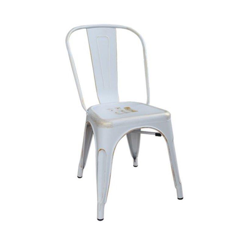 """Καρέκλα """"RELIX"""" μεταλλική σε χρώμα λευκό-χρυσό 45x51x85"""