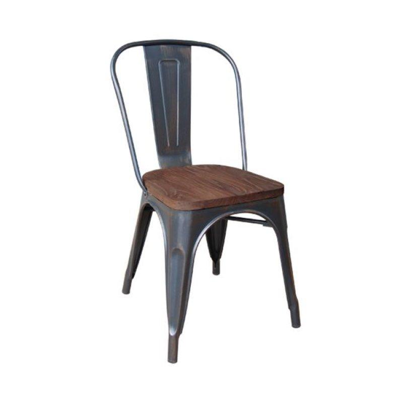 """Καρέκλα """"RELIX"""" μεταλλική σε χρώμα αντικέ μαύρο 45x51x85"""