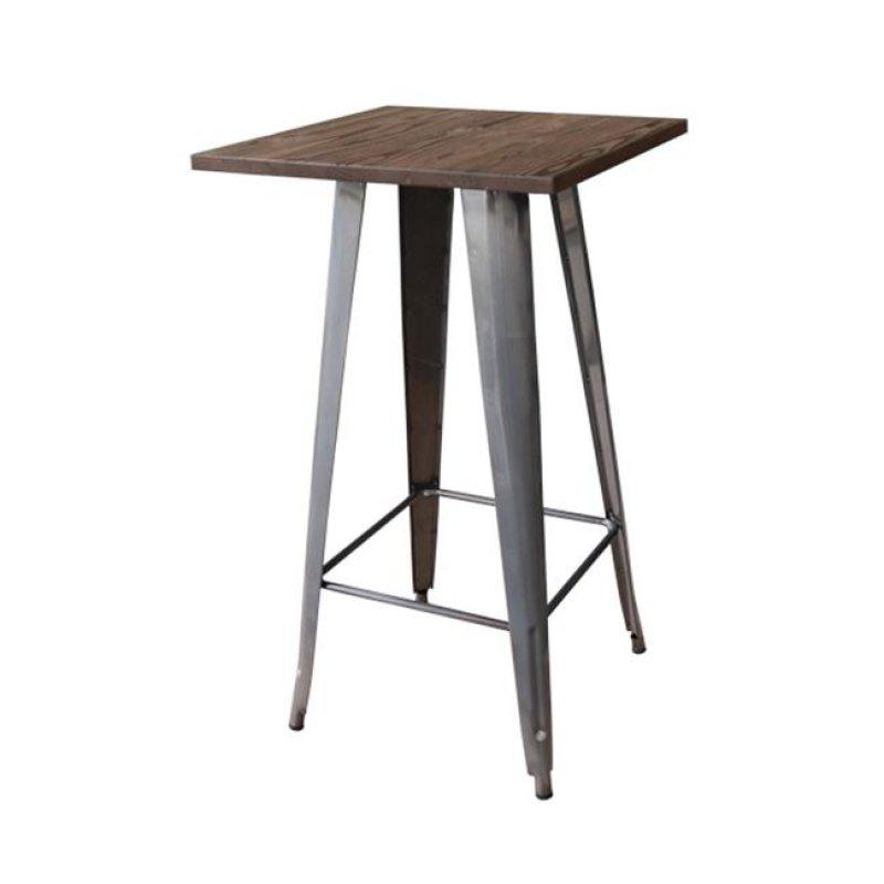 """Τραπέζι μπαρ """"RELIX"""" μεταλλικό σε φυσικό μεταλλικό χρώμα 60x60x101"""
