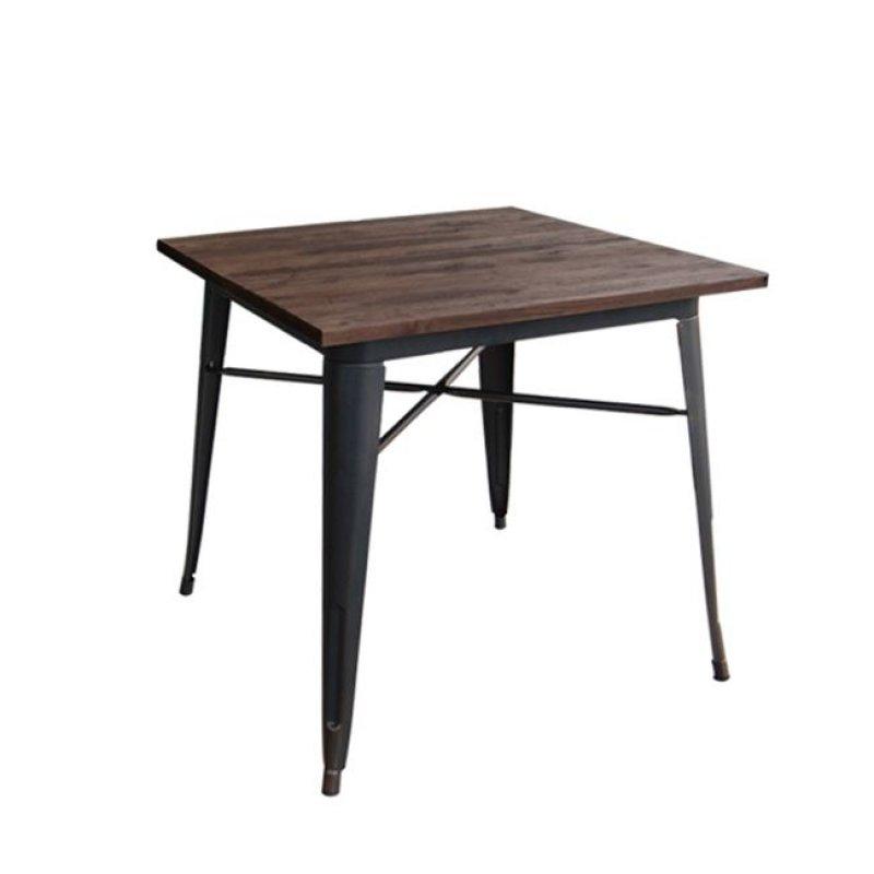 """Τραπέζι """"RELIX""""  μεταλλικό σε αντικέ μαύρο χρώμα 70x70x75"""