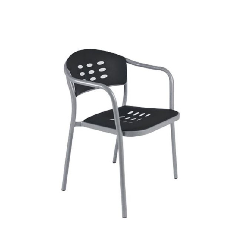 """Πολυθρόνα """"ENIGMA"""" από πολυπροπυλένιο σε μαύρο χρώμα 45x55x78"""
