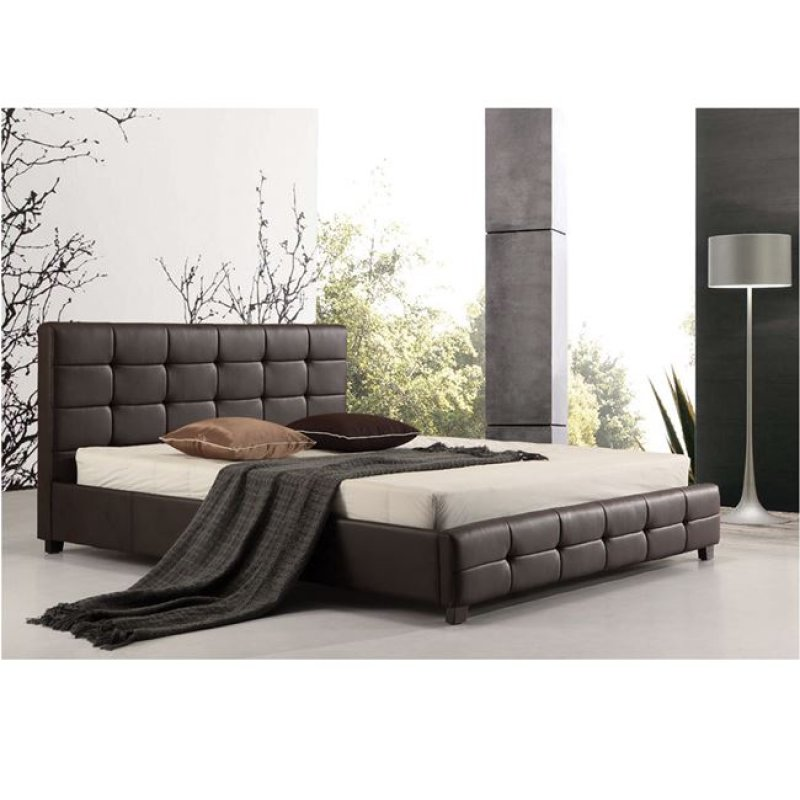 """Κρεβάτι """"FIDEL"""" διπλό από τεχνόδερμα σε σκούρο καφέ χρώμα 168x215x107"""