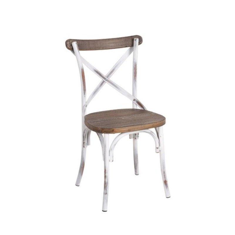 """Καρέκλα """"DESTINY"""" μεταλλική σε χρώμα αντικέ λευκό 50x52x89"""