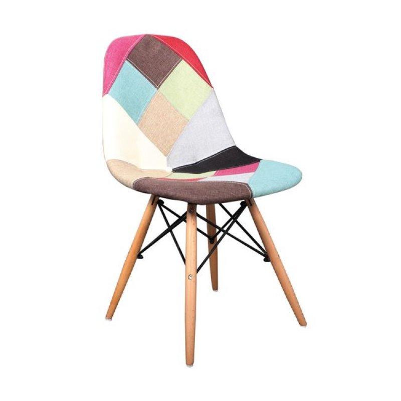 """Καρέκλα """"ART Wood"""" ξύλινη με ύφασμα patchwork 44x54x83"""