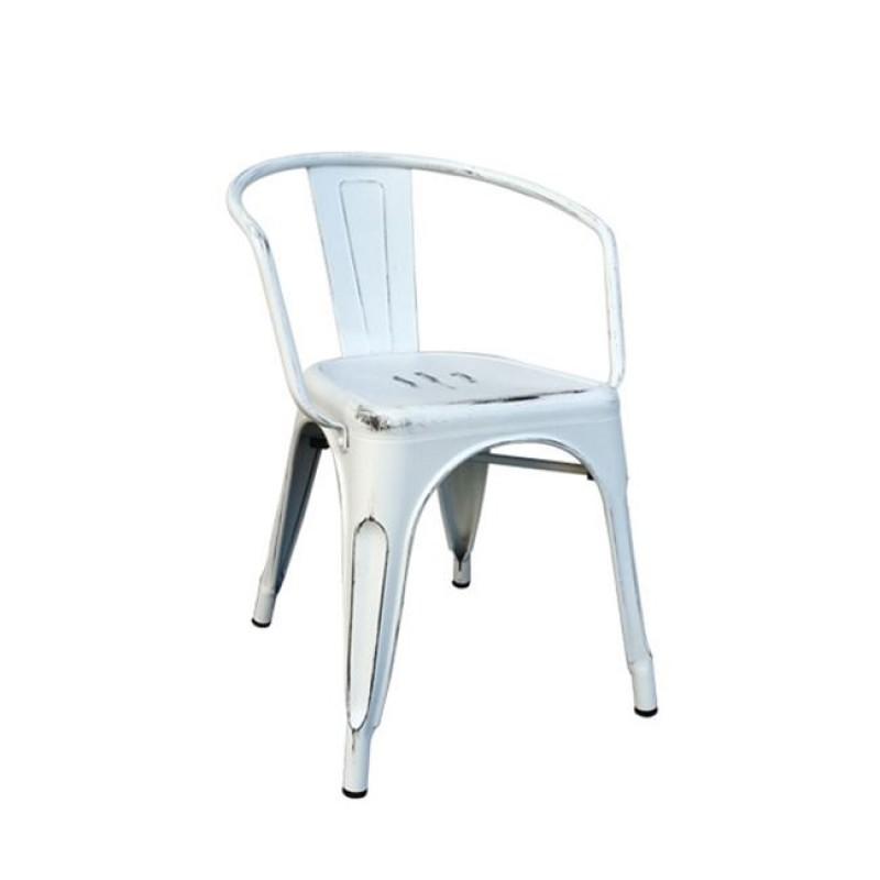 """Πολυθρόνα """"RELIX"""" μεταλλική σε αντικέ λευκό χρώμα 52x49x72"""