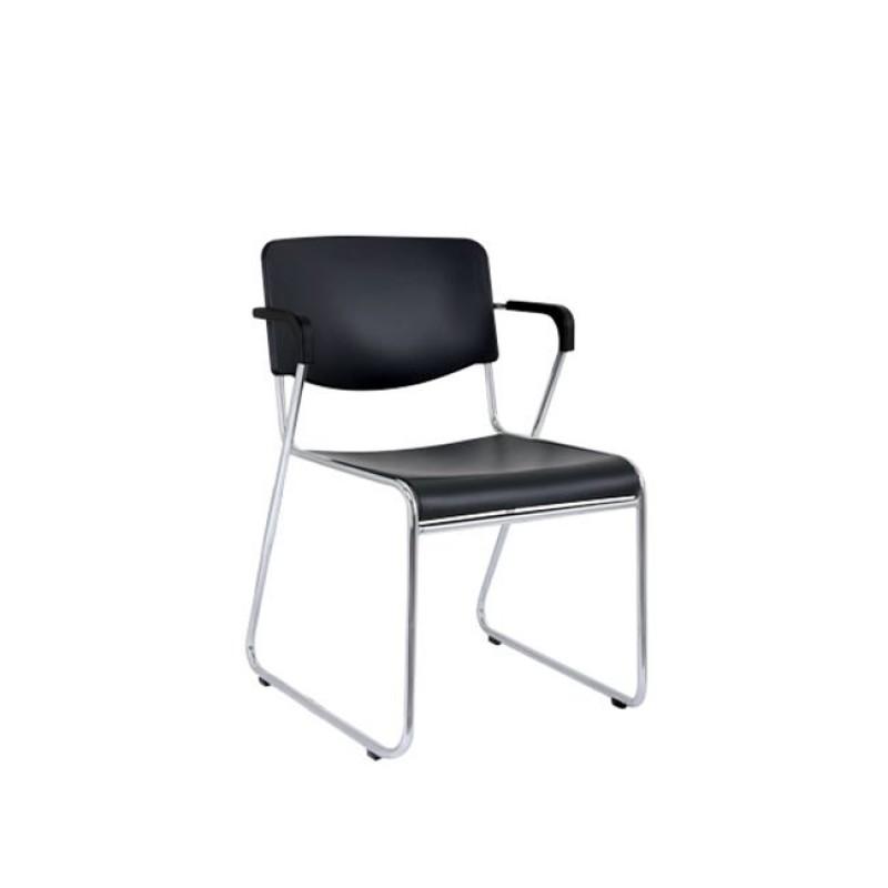 """Πολυθρόνα επισκέπτη """"VISIT"""" χρωμίου από πολυπροπυλένιο σε χρώμα μαύρο 54x52x77"""
