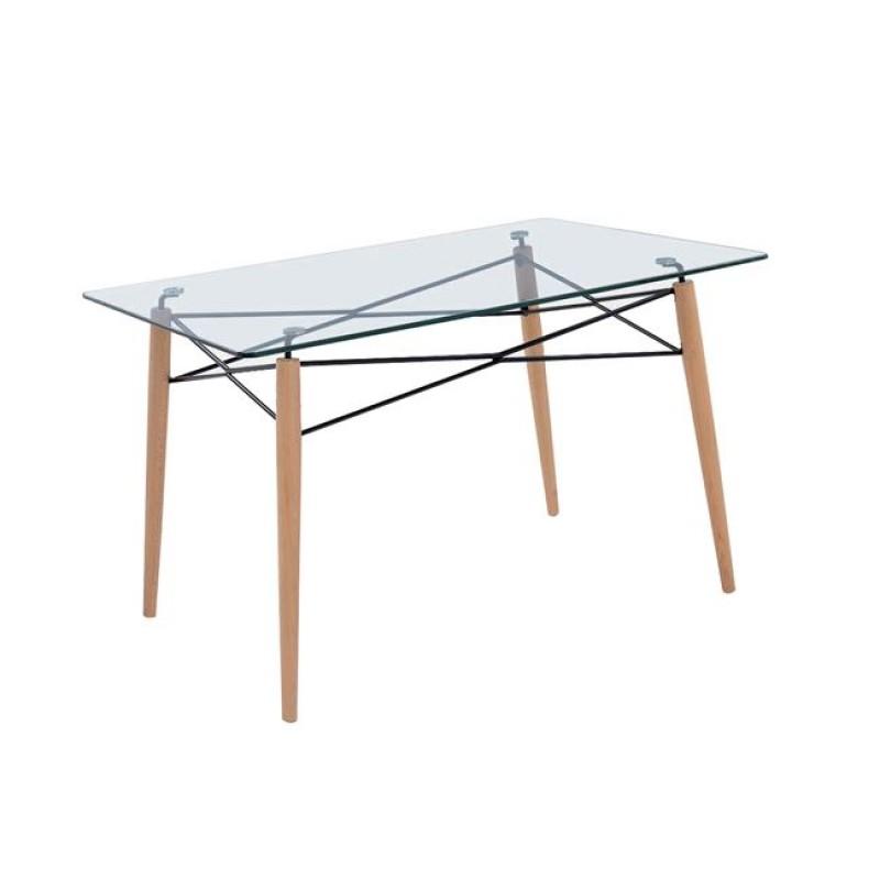 """Τραπέζι """"ART Wood"""" σε χρώμα φυσικό με γυάλινη επιφάνεια 120x80x74"""