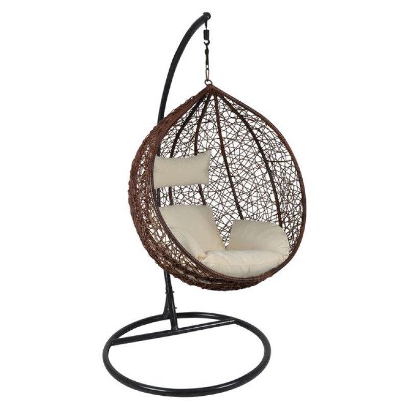 """Πολυθρόνα κρεμαστή """"ISABEL"""" wicker σε γκρι-καφέ χρώμα 105x112x114/208"""