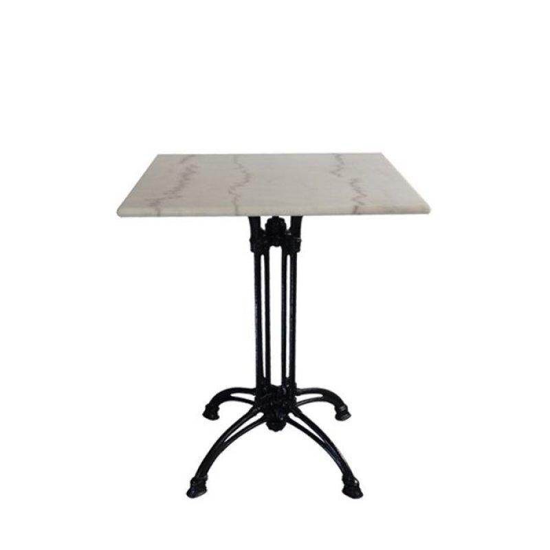 """Τραπέζι """"EKO"""" με μαύρο σκελετό και επιφάνεια από μάρμαρο 70x70x74"""