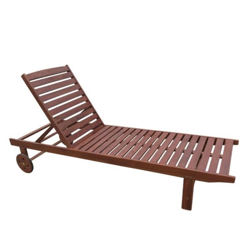 """Ξαπλώστρα """"LUGANO"""" ξύλινη acacia σε χρώμα καρυδί 65x196x32"""