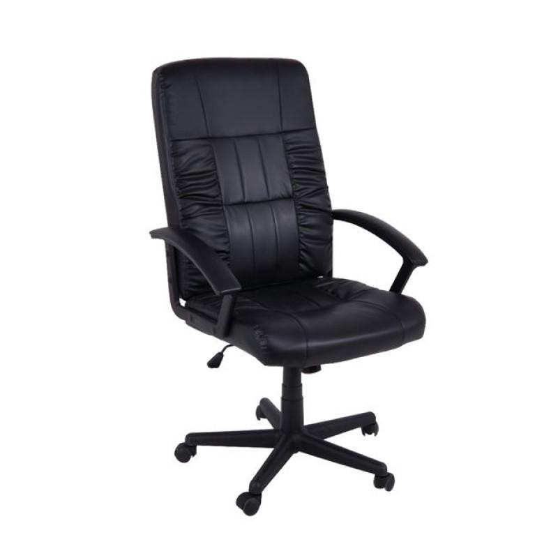 Πολυθρόνα διευθυντή από τεχνόδερμα σε μαύρο χρώμα 63x70x112/122