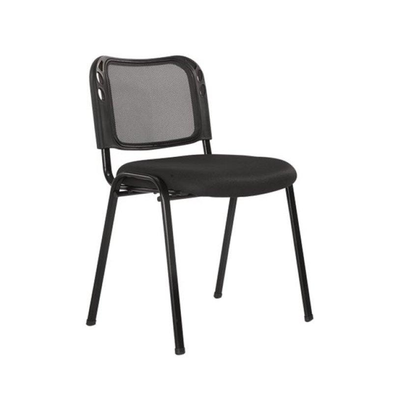 """Καρέκλα επισκέπτη στοιβαζόμενη """"SIGMA"""" από ύφασμα mesh σε μαύρο χρώμα 52x53x76"""