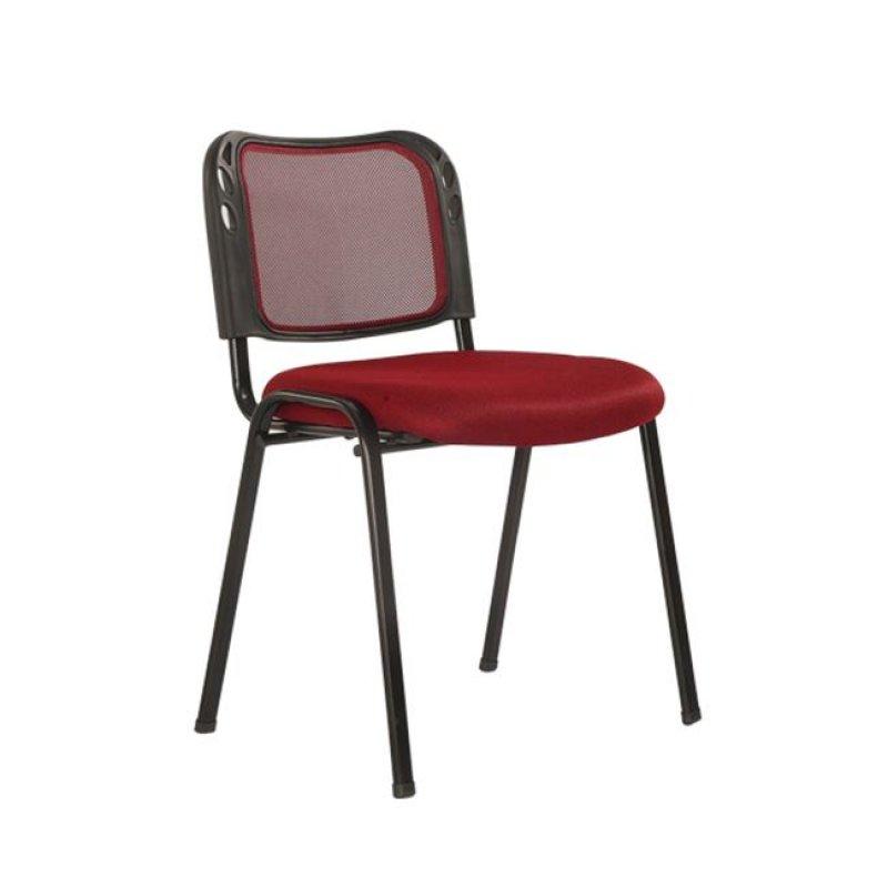 """Καρέκλα επισκέπτη στοιβαζόμενη """"SIGMA"""" από ύφασμα mesh σε μπορντώ χρώμα 52x53x76"""