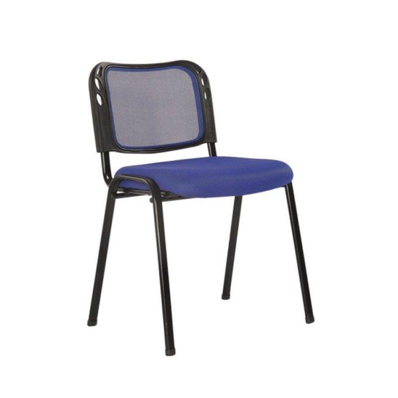 """Καρέκλα επισκέπτη στοιβαζόμενη """"SIGMA"""" από ύφασμα mesh σε μπλε χρώμα 52x53x76"""