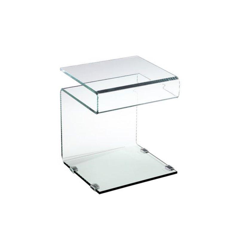"""Τραπεζάκι βοηθητικό """"GLASSER""""  γυάλινο 42x38x48"""