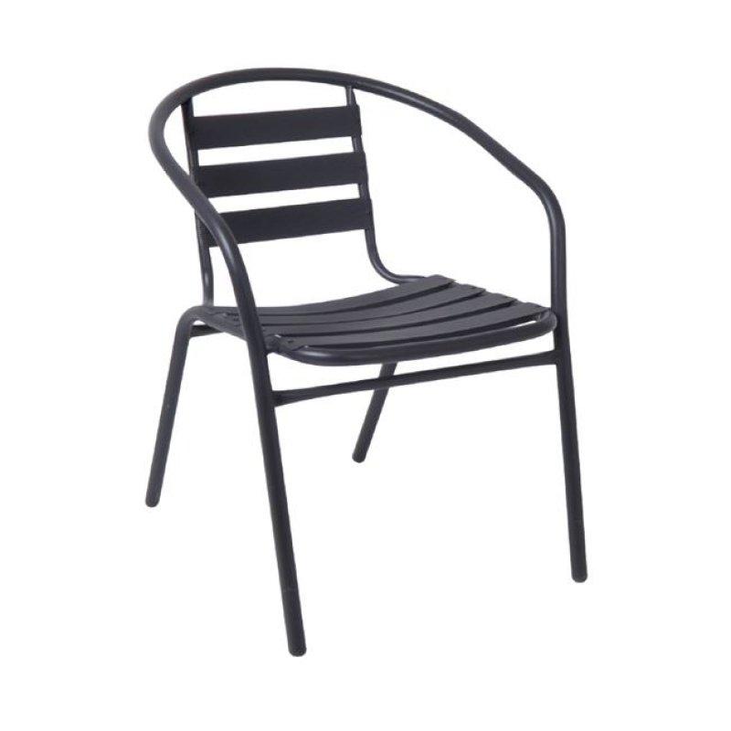 """Πολυθρόνα """"FUNKY"""" από μέταλλο-αλουμίνιο σε ανθρακί χρώμα 54x57x73"""