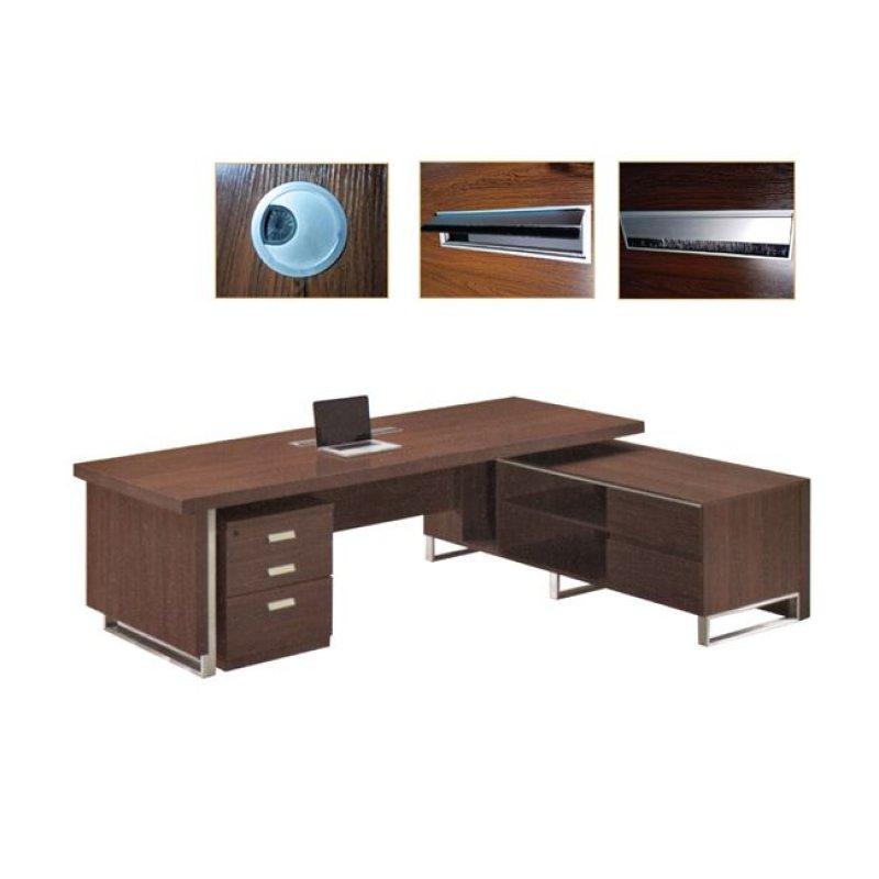 """Γραφείο """"ALPINE"""" δεξιά γωνία σε χρώμα σκούρο καρυδί 240x100x76"""