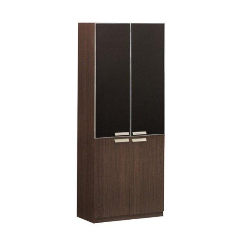 """Βιβλιοθήκη """"ALPINE"""" σε χρώμα σκούρο καρυδί με γυάλινες πόρτες 80x40x200"""