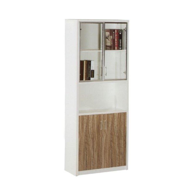 """Βιβλιοθήκη """"SAN-MARTIN"""" σε χρώμα rosewood-λευκό με γυάλινες πόρτες 80x40x200"""