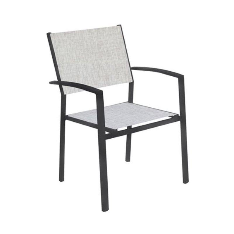 """Πολυθρόνα """"SLING"""" αλουμινίου ανθρακί με textilene σε χρώμα γκρί 57x61x88"""