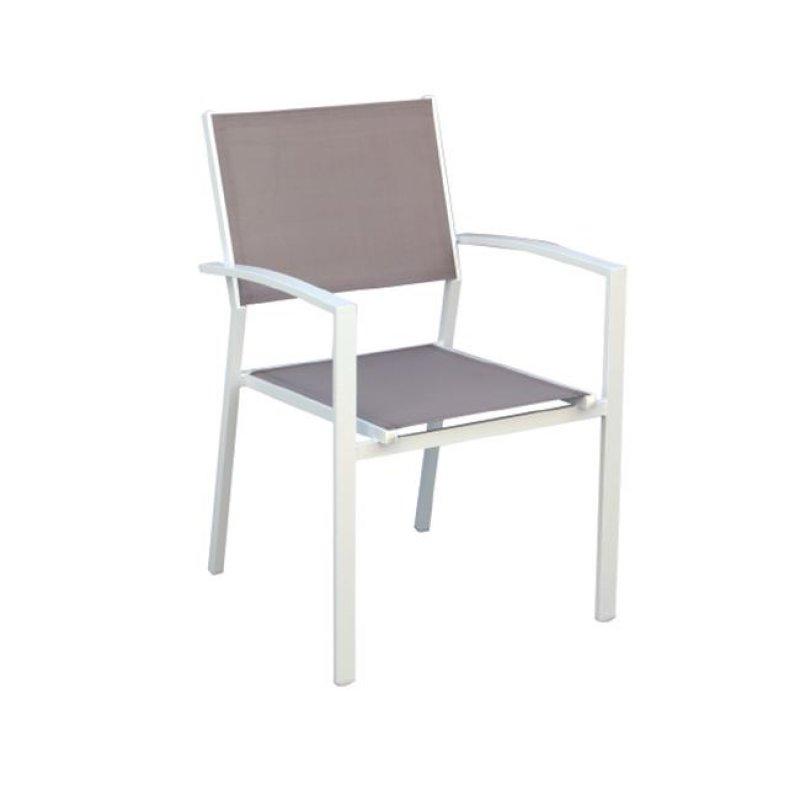 """Πολυθρόνα """"SLING"""" αλουμινίου λευκή  με textilene σε χρώμα μπεζ 57x61x88"""