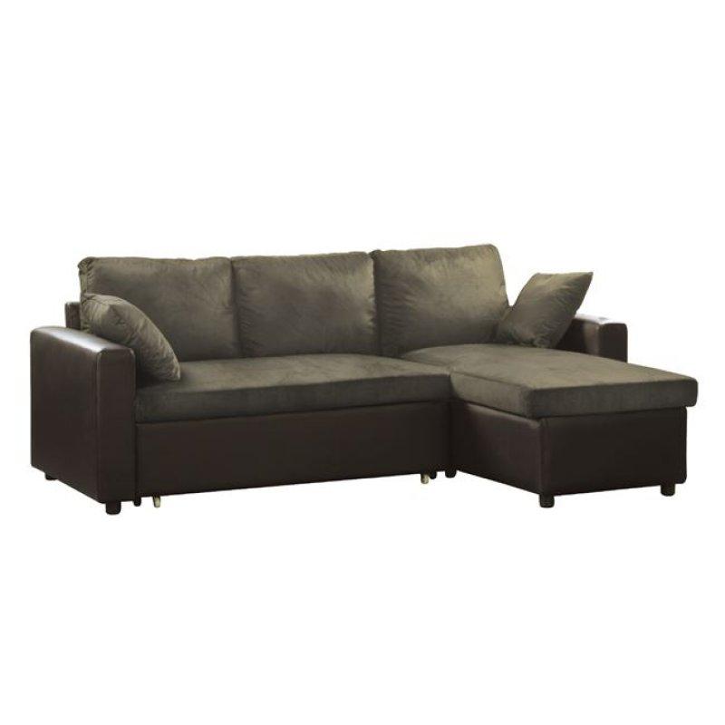 """Καναπές-κρεβάτι """"MONTREAL"""" γωνία αναστρέψιμος από τεχνόδερμα σε καφέ χρώμα 223x146x83"""