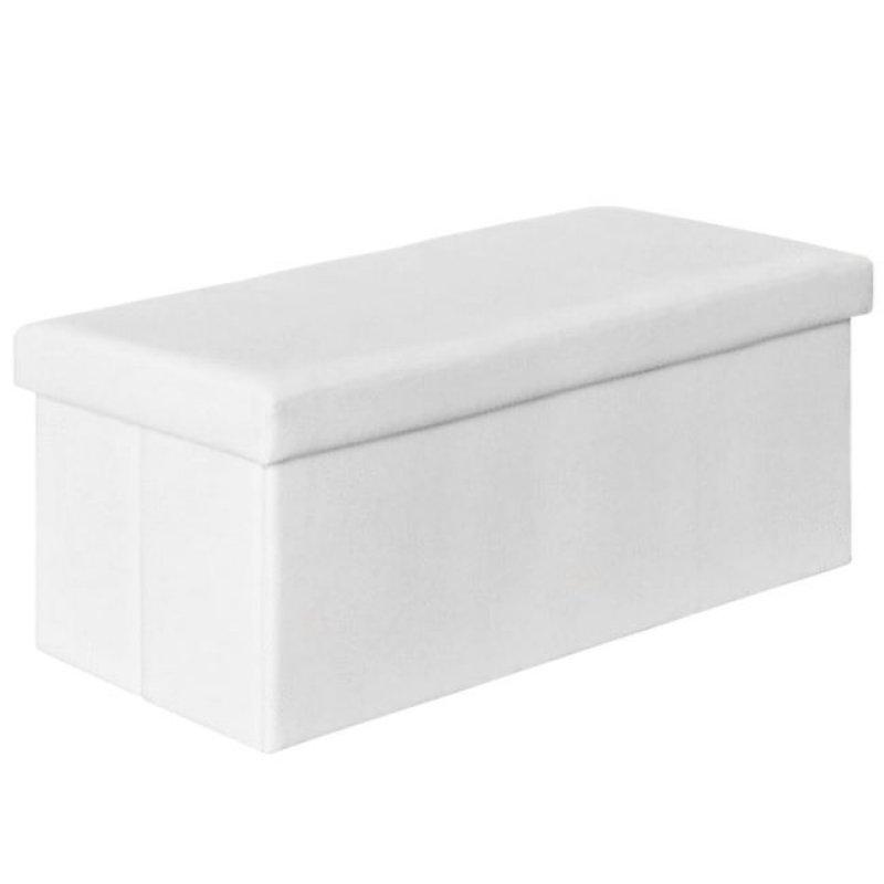 """Σκαμπώ αποθηκευτικό """"ORION"""" από τεχνόδερμα σε λευκό χρώμα 80x38x38"""