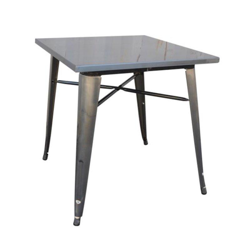 """Τραπέζι """"RELIX"""" μεταλλικό σε φυσικό μεταλλικό χρώμα 70x70x75"""