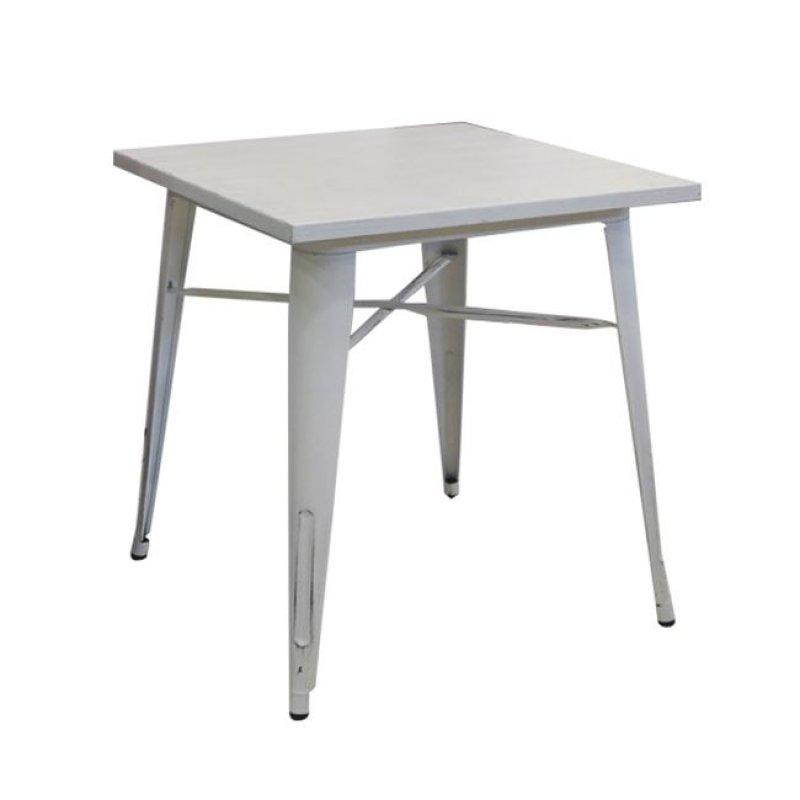 """Τραπέζι """"RELIX"""" μεταλλικό σε λευκό αντικέ χρώμα 80x80x75"""
