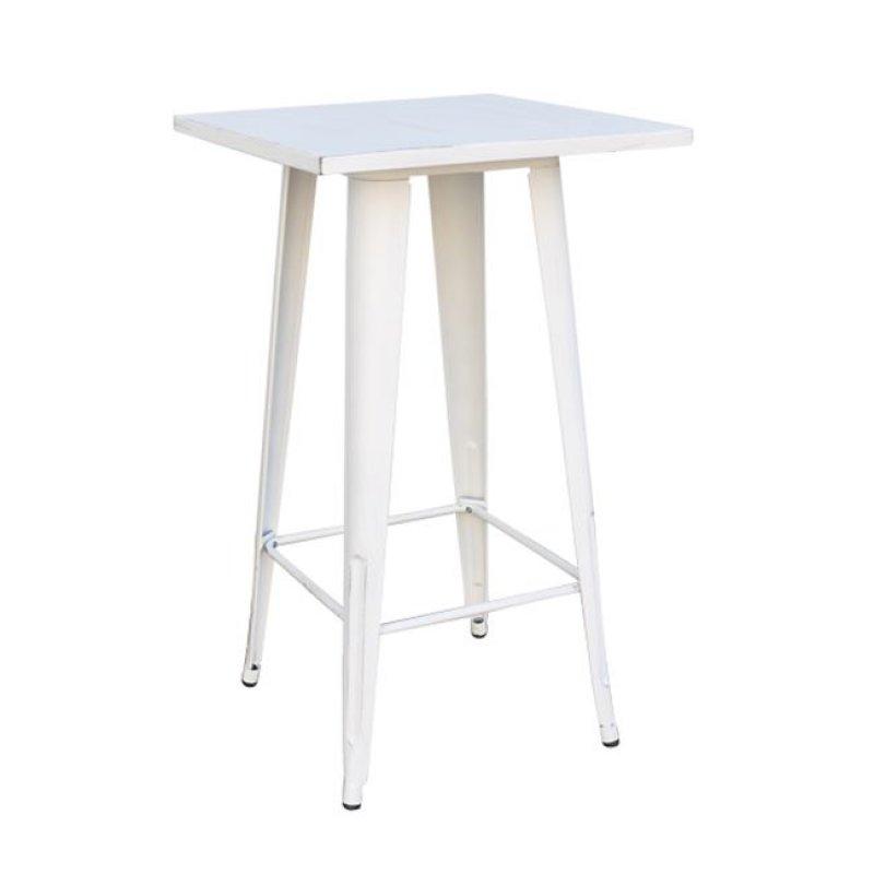"""Τραπέζι μπαρ """"RELIX"""" μεταλλικό σε αντικέ λευκό χρώμα 60x60x101"""