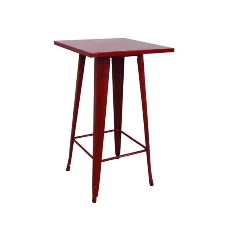 """Τραπέζι μπαρ """"RELIX"""" μεταλλικό σε κόκκινο χρώμα 60Χ60Χ101"""