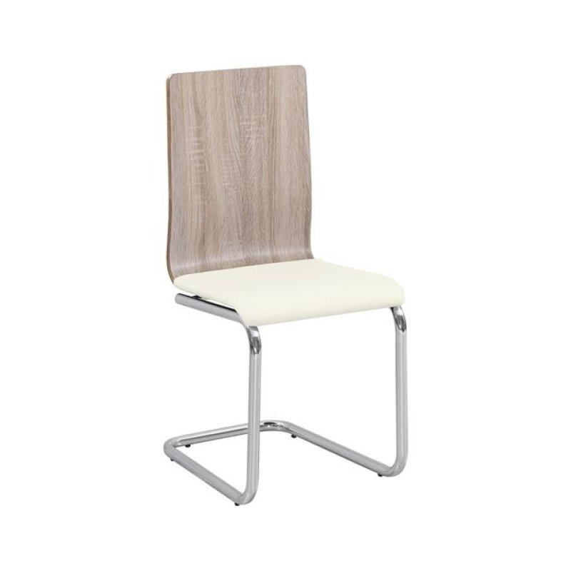 """Καρέκλα """"LORD"""" χρωμίου-pu σε εκρού χρώμα 40x53x90"""