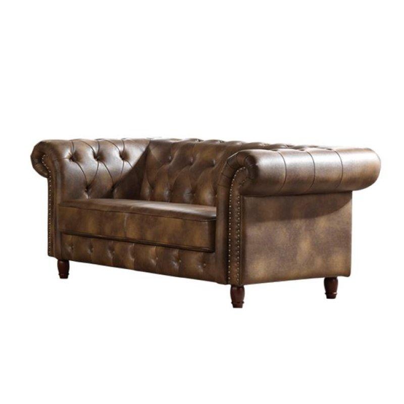 """Καναπές """"CHESTERFIELD"""" διθέσιος nabuk ύφασμα σε ανοιχτό καφέ χρώμα 180x89x75"""