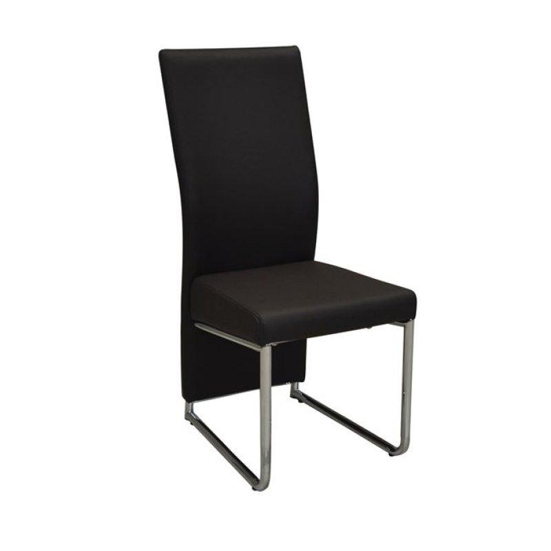 """Καρέκλα """"DEPOLY"""" χρωμίου-pu σε σκούρο καφέ χρώμα 43x57x99"""