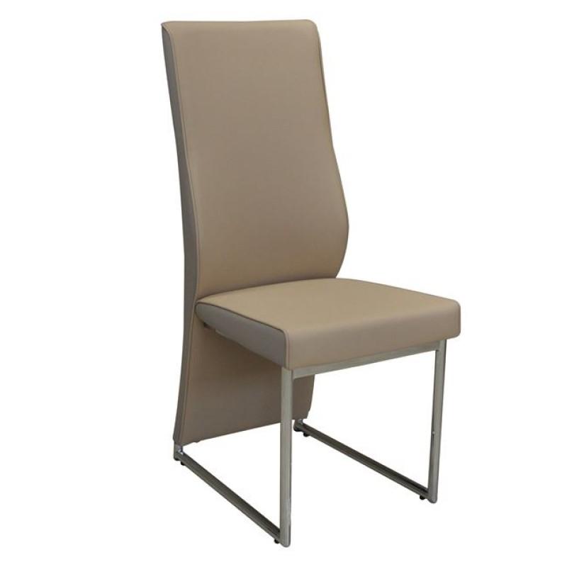 """Καρέκλα """"DEPOLY"""" χρωμίου-pu σε μπεζ χρώμα 43x57x99"""