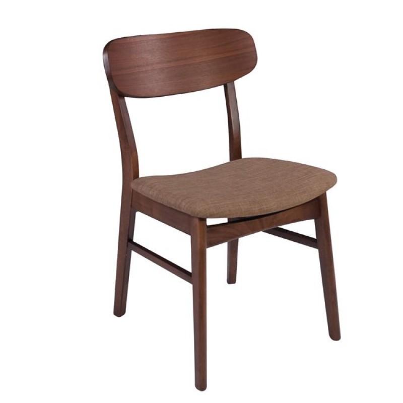 """Καρέκλα """"EVER"""" υφασμάτινη σε καρυδί-καφέ χρώμα 47x54x78"""