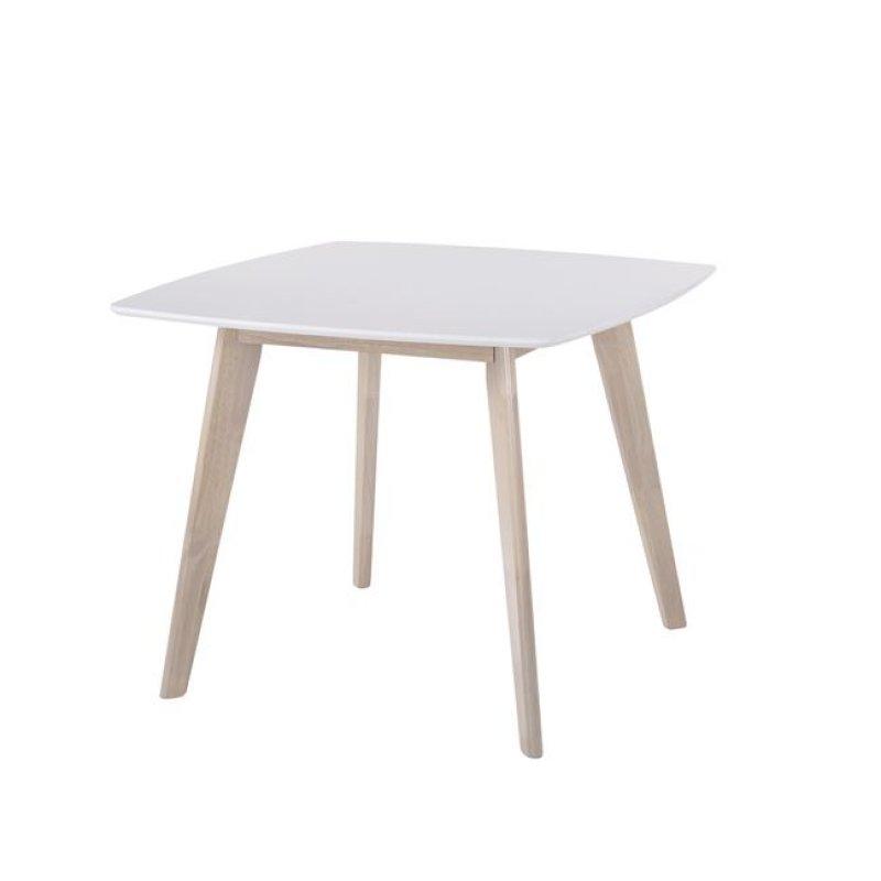 """Τραπέζι """"CALVIN"""" με σκελετό white wash και λευκό 90x90x75"""