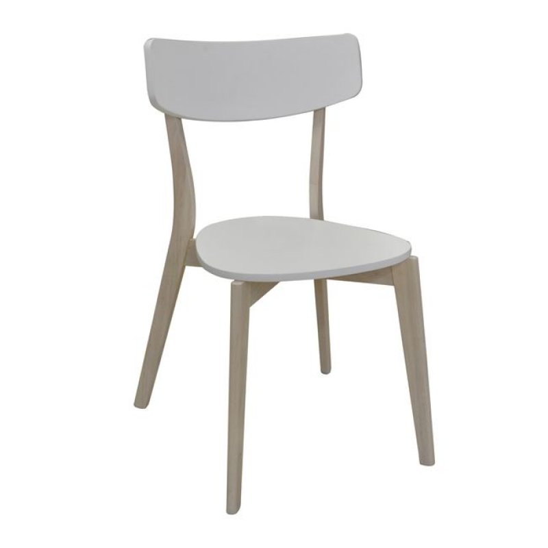 """Καρέκλα """"MEMORY"""" ξύλινη σε white wash-λευκό χρώμα 51x50x80"""