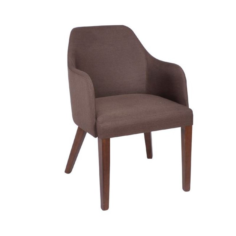 """Πολυθρόνα """"EDWARD"""" ξύλινη-υφασμάτινη σε χρώμα latte-καφέ 54x58x81"""