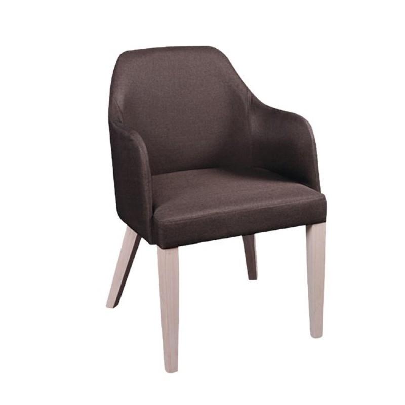 """Πολυθρόνα """"EDWARD"""" ξύλινη-υφασμάτινη σε χρώμα σκούρο καφέ 54x58x81"""