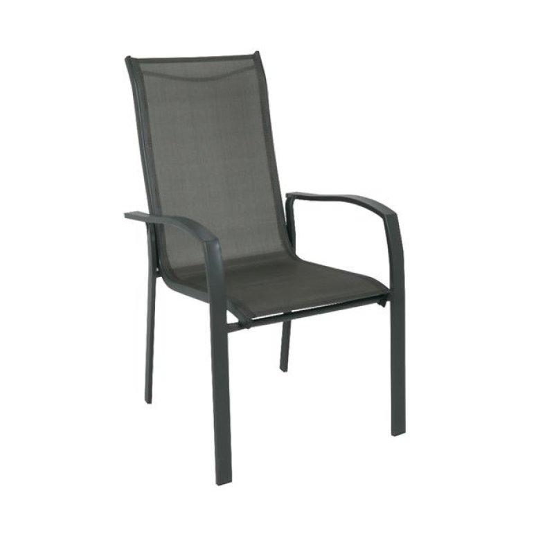 """Πολυθρόνα """"VERONA"""" μεταλλική σε ανθρακί χρώμα με textilene γκρί 56x70x96"""