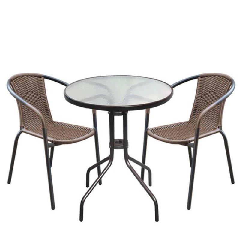 """Σετ κήπου """"BALENO"""" μεταλλικό-wicker σε καφέ χρώμα 60x70"""
