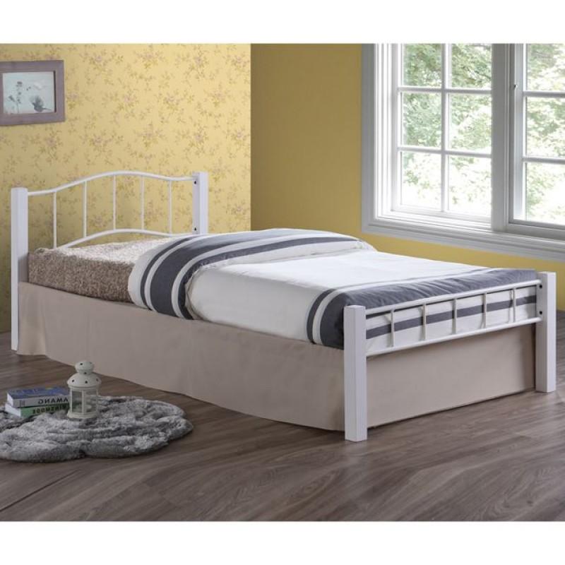 """Κρεβάτι """"PALOMA"""" μονό μεταλλικό σε λευκό χρώμα 107x212x72"""